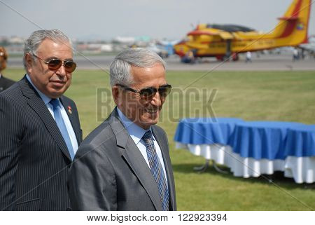 ANKARA/TURKEY-MAY 6, 2012: Commander of Turkish Air Force Full General Mehmet Erten (R) and THK President Osman Yildirim at the Etimesgut Airport during the air fest. May 6, 2012-Ankara/Turkey
