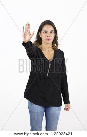 Beautiful, Woman Making Stop Sign