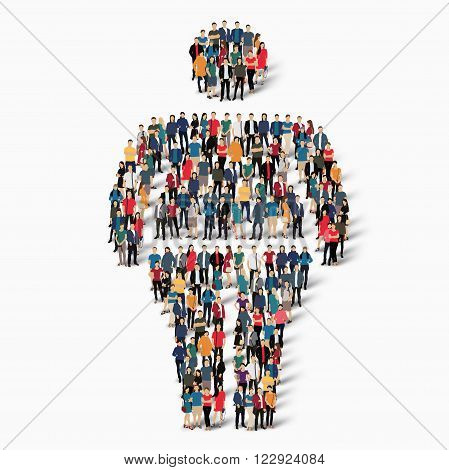 Isometric set of fat, fat man, web infographics concept illustration of a crowded square, flat 3d. Crowd point group forming a predetermined shape. Creative people.