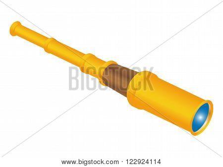 Retro spyglass vector illustration. spyglass on white background. cartoon spyglass vector. spyglass isolated vector.