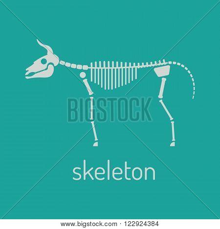 Cow skeleton vector illustration. Cow skeleton on green background. Cow skeleton vector. Cow skeleton vector illustration.