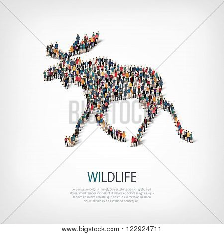 Isometric set of styles elk, wildlife, web infographics concept  illustration of a crowded square, flat 3d. Crowd point group forming a predetermined shape. Creative people.