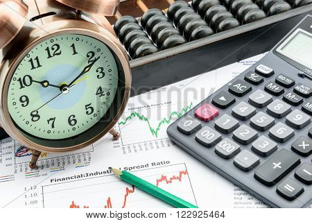 A clock with a calculator an abacus and a pencil on business and financial summary reports. A long term sustainable growth investment concept.