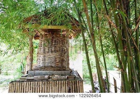 Traditional granary which made of bamboo used for storing paddy after winnowing. Granaries are often built or raised up above the ground to keep the stored paddy away from mice and other animals.