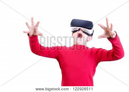 Amazed Young Child In Virtual Reality Headset
