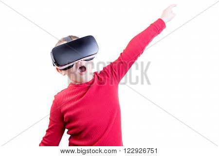 Child Flying With Virtual Reality Headset On