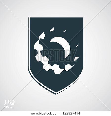 3d graphic gear symbol on a shield heraldic escutcheon with an engineering design element. Engine component symbol, industrial cog wheel. Defense emblem.