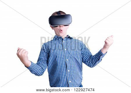 Excited Boy Looking With Virtual Reality Headset