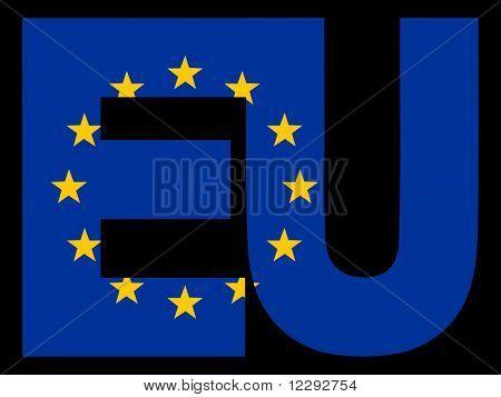 EU Text and European Union flag illustration