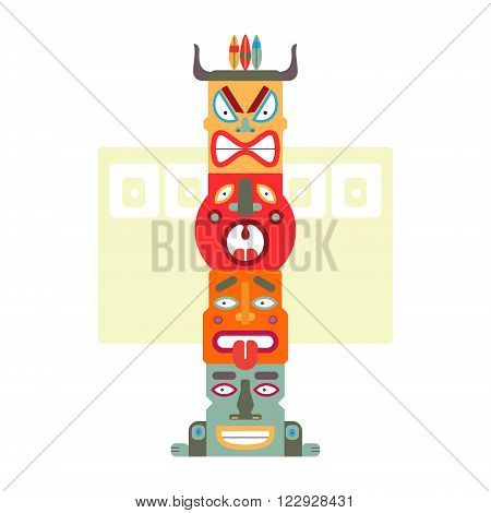 Four Totems Face Illustration