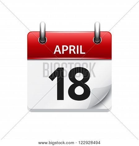 April 18. Vector flat daily calendar icon. Date and time, day, month. Holiday.