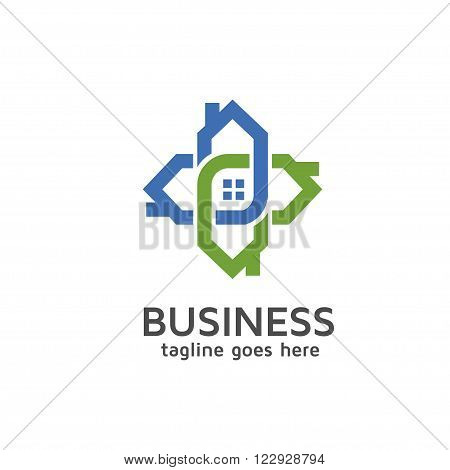 modern house connecting and neighbour logo concept