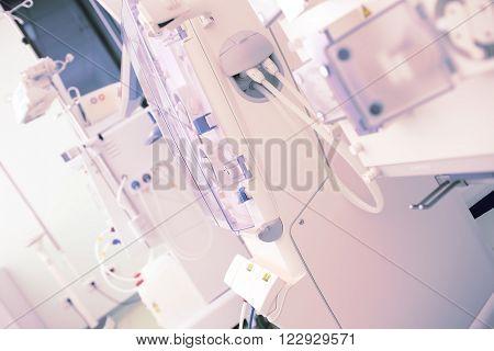 Dialysis in modern hospital ward. Diagonal view