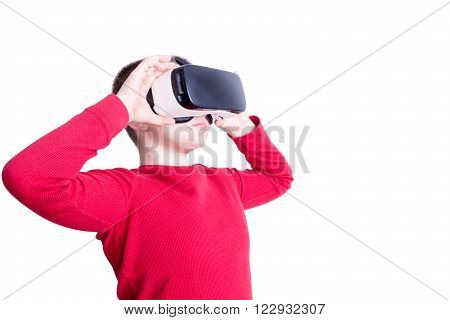 Child Looking Through Virtual Reality Glasses