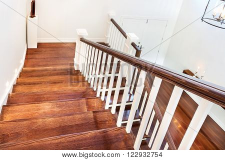 View Of Wooden Glossy Stairs From Upword