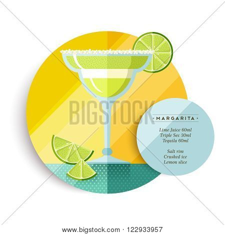 Margarita cocktail drink recipe illustration in colorful flat art design style with summer fruit decoration and ingredients text. EPS10 vector.