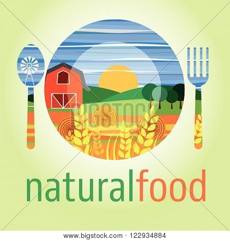 Flat design icon of vegetarian food healthy eating and vegetables diet natural food preparation process. Macrobiotic and vegan food concept.