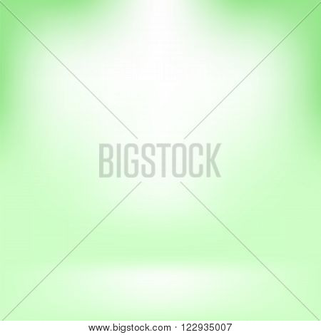 Empty Studio. Light Green Abstract Background with Radial Gradient Effect. Spotlights Blurred Background. Flat Wall and Floor in Empty Spacious Room Interior for Your Products
