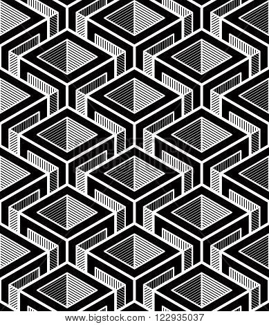 Contrast black and white symmetric seamless pattern with interweave figures. Continuous geometric composition for use in graphic design.