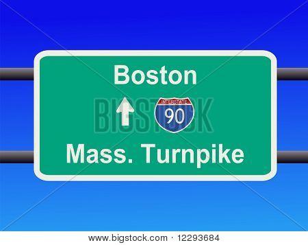 Massachusetts Turnpike Interstate 90 sign illustration JPG