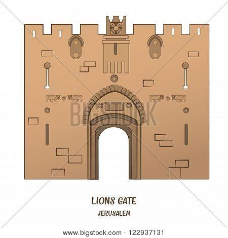 Lion Gate in Old City of Jerusalem. Vector illustration. EPS 10