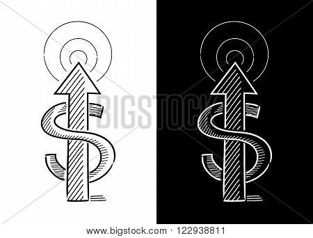 Up arrow with a letter s wrapped in it symbolizing money in a black white background
