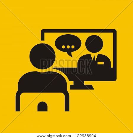 Video conference call - man on chair near monitor