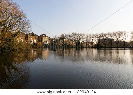 Hampstead No 1 Pond in Hampstead Heath Park in London - early spring