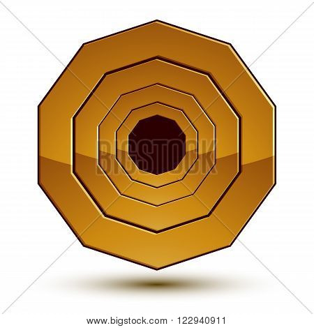 Geometric vector classic golden element isolated on white backdrop dimensional decorative insignia shaped blazon.