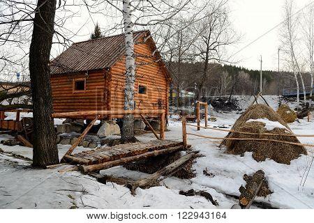 Rural Life Museum 'Watermill' located in the resort area of Belokurikha Altai Krai Russia.