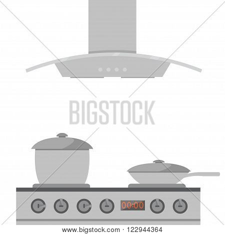 Interior of kitchen metal pan on the stove cooking. Vector illustration in flat style