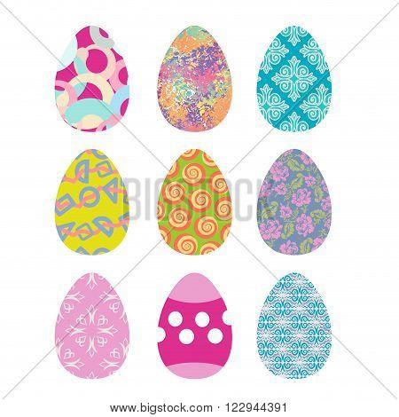 Easter Eggs Set. Easter Eggs On White Background. Eggs Isolated. Festive Traditional Eggs For Easter