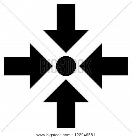 Shrink Arrows vector icon. Style is flat icon symbol, black color, white background.