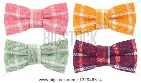 Pink yellow blue plaid and brown blue hair bow tie