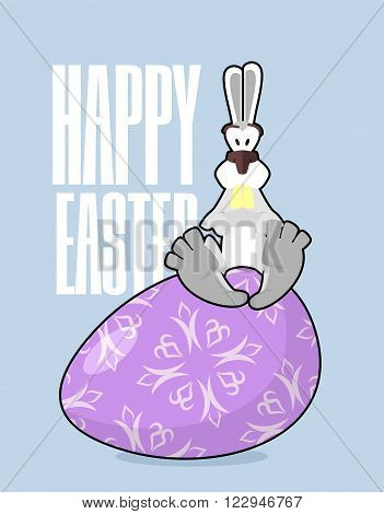 Happy Easter. Rabbit And Easter Egg. Traditional Treats For Easter. Colored Eggs. Funny Bunny Sittin