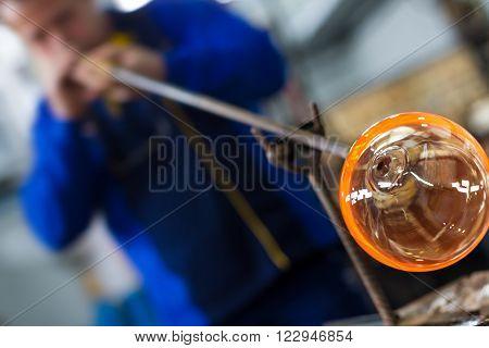 Glass Crafting Worker Make Glass Souvenir