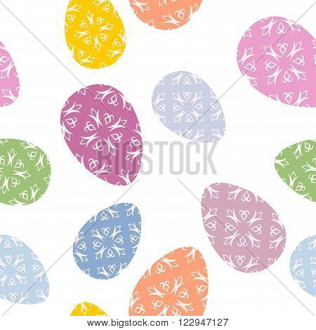 Easter Seamless Pattern. Easter Egg Background. Texture For Easter Holiday. Many Easter Eggs. Colore