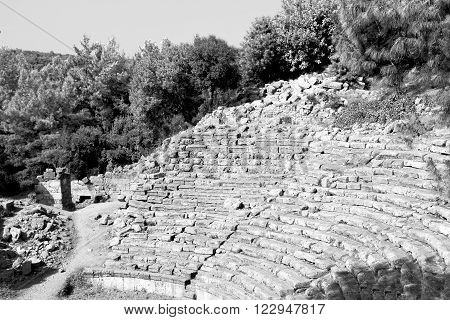 Old Ruined Column And Destroyed Stone In Phaselis Temple Turkey Asia