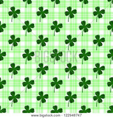 Seamless pattern with four leaves green clovers. St. Patric's Day background. 3D illustration