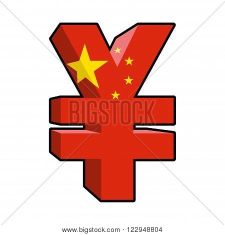 Yen Sign Chinese Money. Yen  National Currency In China. Strong Chinese Large 3D Cash. Sign Yen And