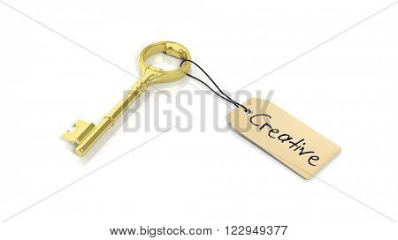 Tag with word Ceative on golden retro key , isolated on white background.