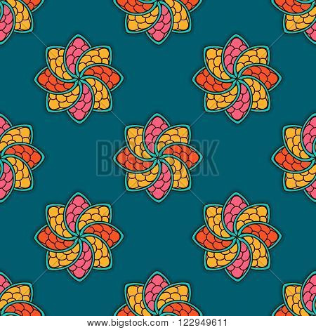 Hand Drawn Seamless Pattern With Floral Elements. Colorful Ethnic Background.
