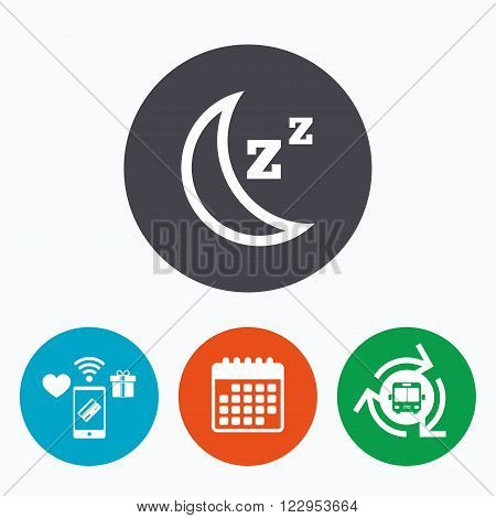 Sleep sign icon. Moon with zzz button. Standby. Mobile payments, calendar and wifi icons. Bus shuttle.