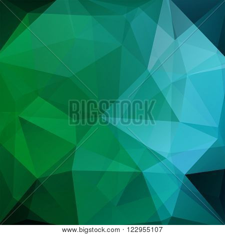 Geometric Pattern, Polygon Triangles Vector Background In Green And Blue Tones. Illustration Pattern
