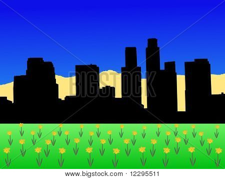 Los Angeles skyline in spring with daffodils illustration