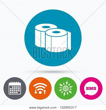 Wifi, Sms and calendar icons. Toilet papers sign icon. WC roll symbol. Go to web globe.