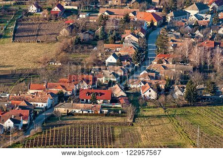 Plan view over a small Hungarian village