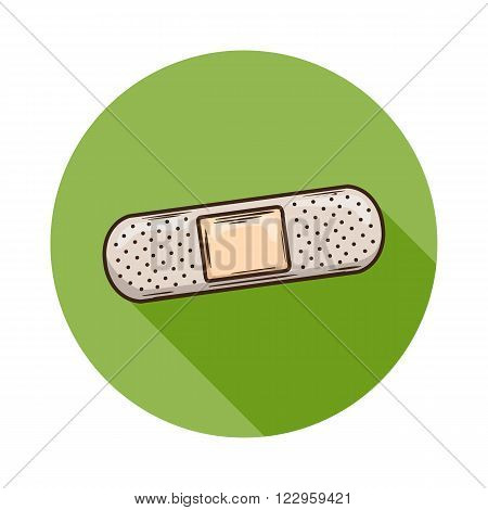 Patch icon.Vector Patch icon isolated with shadow.Hand draw Patch vector.Medical Patch isolated on background.A piece of cloth or other material used to mend or strengthen a torn or weak point.