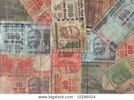 Assorted Indian currency collage with rupee notes