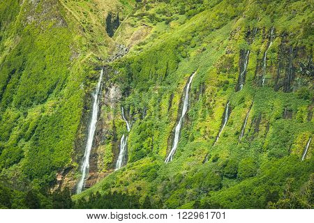 Azores landscape in Flores island. Waterfalls in Pozo da Alagoinha. Portugal ** Note: Soft Focus at 100%, best at smaller sizes
